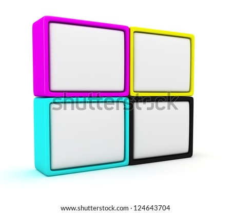 Four blank cmyk panels on the white background - stock photo