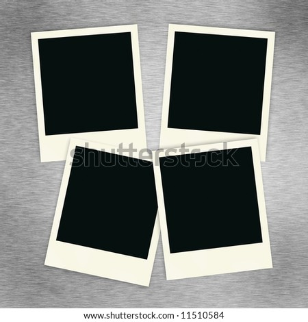Four blank instant photo images on a brush alluminum background.