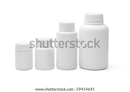 Four blank plastic containers for medicine on white background - stock photo