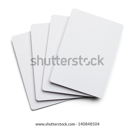 Four Blank Poker Cards Isolated on White Background. - stock photo