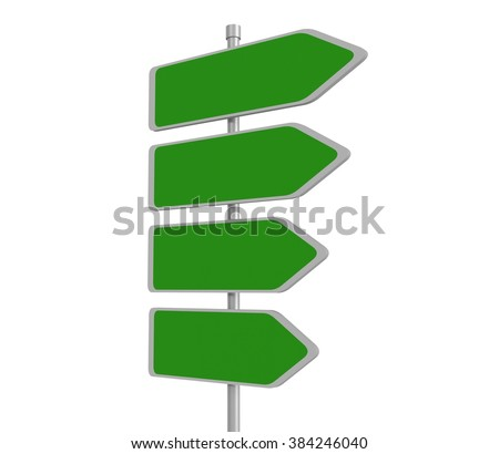 Four blank road signs pointing in the same direction, 3d illustration - stock photo