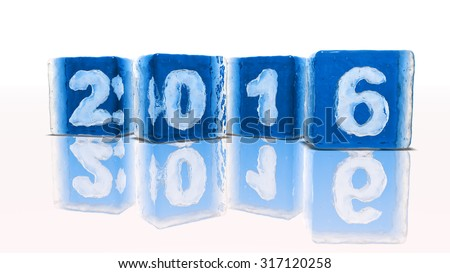 Four blocks of rough blue ice on white background with frozen-in bubbles in the form of numbers 2, 0, 1 and 6