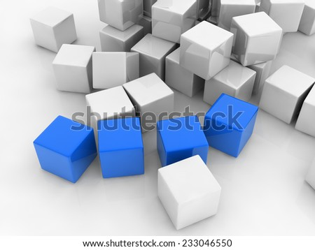 four blue cubes placed observably in a group of white cubes. - stock photo