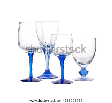 four blue glass on white background