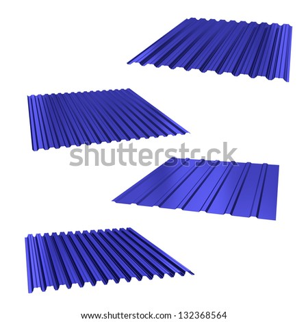 four blue sheets of stainless steel on a white - stock photo