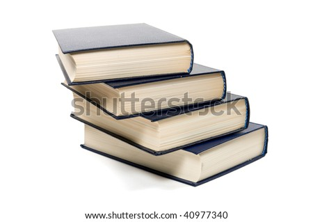 Four book of dark blue color it is isolated on a white background