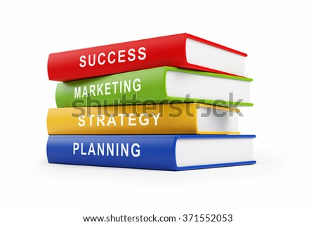 Four books stacked  top of each other. The books have orange, red, blue and green covers with white text along their spines.  Isolated on white background. Clipping path is included.