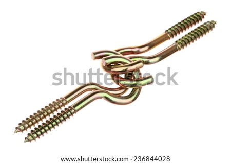 Four brass screws with loops isolated on a white background
