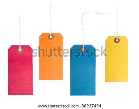Four bright, vibrant, blank coloured lables