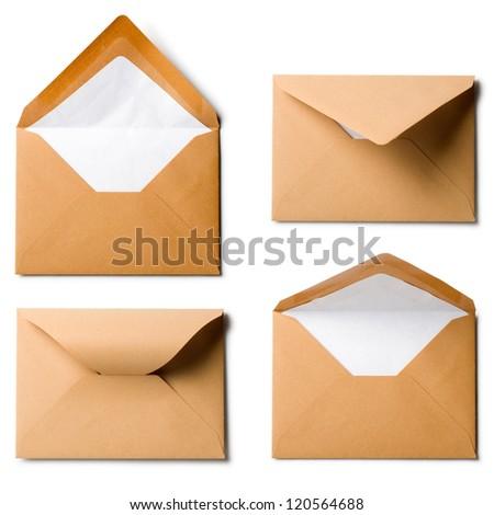 Four brown envelopes, collection on white background - stock photo