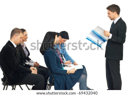 Four busienss people at conference being bored by a colleague man speech  isolated on white background - stock photo