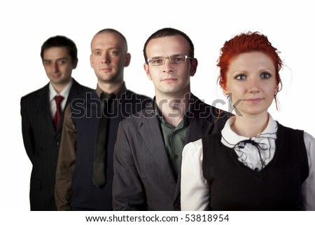 Four business people standing on a white background - stock photo