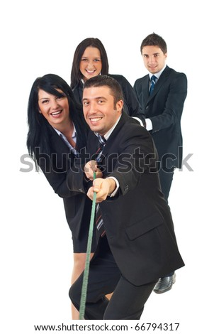 Four business people  team pulling rope isolated on white background - stock photo