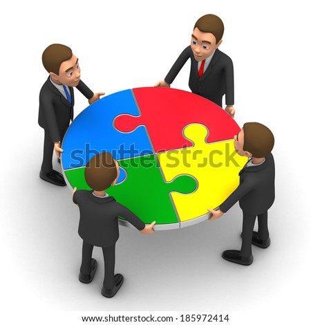 four businessmen collected round puzzle - stock photo