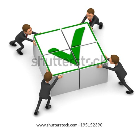 Four businessmen gather cubes - stock photo