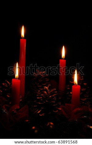 Four candles - Christmas decorations - stock photo