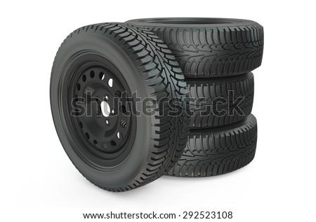 Four car wheel isolated on white background - stock photo