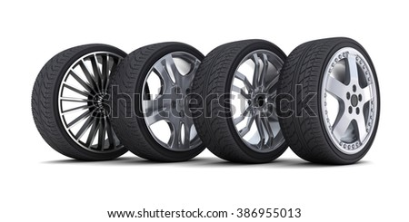 Four car wheel on a white background