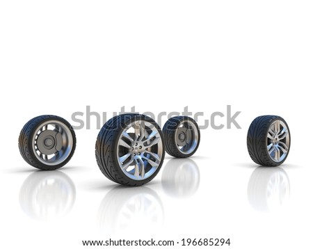 four car wheels  - stock photo
