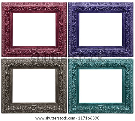 four carved frames on a white background