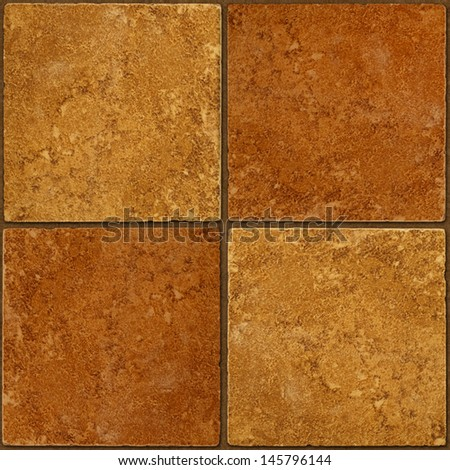 Four ceramic two-tone brown stone tiles seamlessly tileable