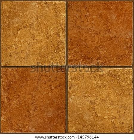 Four ceramic two-tone brown stone tiles seamlessly tileable - stock photo