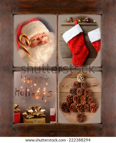 Four Christmas scenes in the frosted panes of a window. Santa Claus, Christmas Stockings, Happy Holidays, and Pine cone tree shape in a rustic wood window frame.