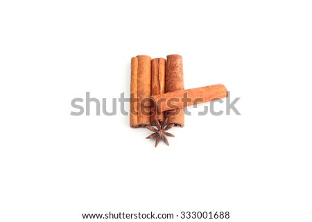 four cinnamon stick isolated