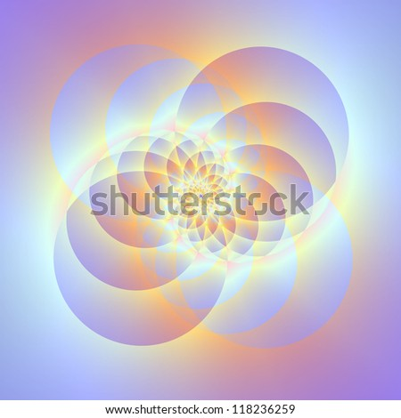 Four Circles Spiral/Digital abstract image with a spiral design in lilac and light blue.