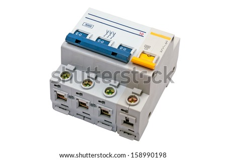 Four Circuit Breaker on a white background. Circuit breaker used on items such as a residential iron, hot water heater, a kitchen oven, or an electric clothes dryer. The isolated object. - stock photo