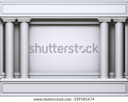 Four Classic Doric Pillars Arc. 3d rendering. - stock photo