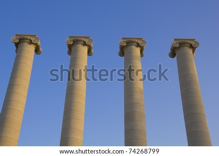 Four classical columns, Barcelona, Catalonia, Spain. Built following the Barcelona International Exposition of 1929, held in the mountain of Montjuic.