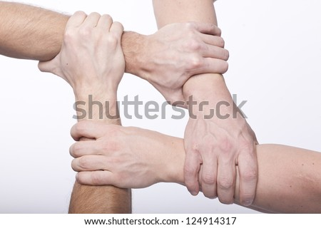four clenched fists building a square shape on white background