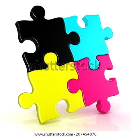 Four CMYK jigsaw puzzle pieces. Isolated on a white background