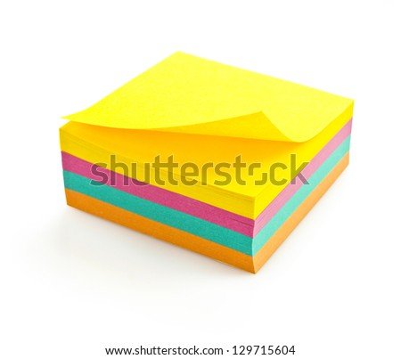 four color block of post-it notes with clipping path - stock photo
