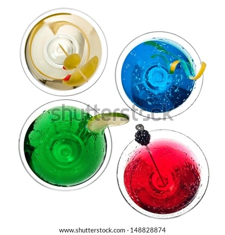 Four color cocktails, top view - stock photo