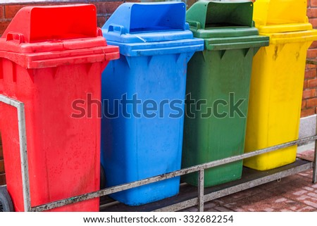 four color of bin - stock photo
