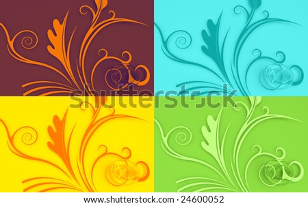 Four color pop-art like 3D easter eggs and floral background shapes.
