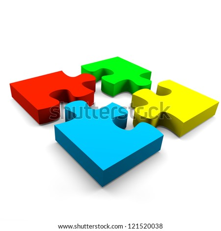 four color puzzle pieces combined cooperation concept on white background - stock photo