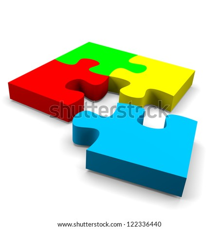 four color puzzle pieces combined solution concept on white background - stock photo