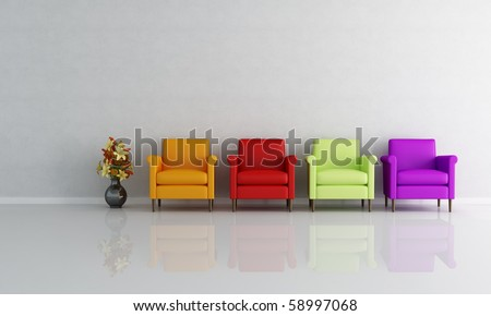 four colored armchair in a empty living room - rendering - stock photo