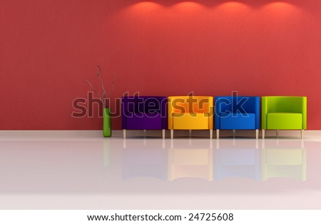 Four colored armchair in a minimal room - rendering