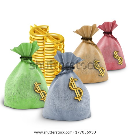 Four colored bag and dollars on white background - stock photo