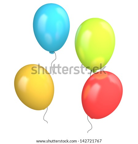 Four colored balloons isolated on white background