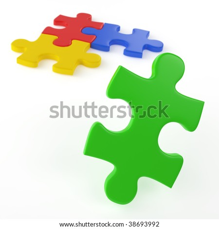 four colored puzzle pieces isolated on white with only one left to assamble as concept for easy solution to a problem