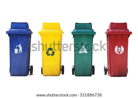 Four colored recycling bins - stock photo