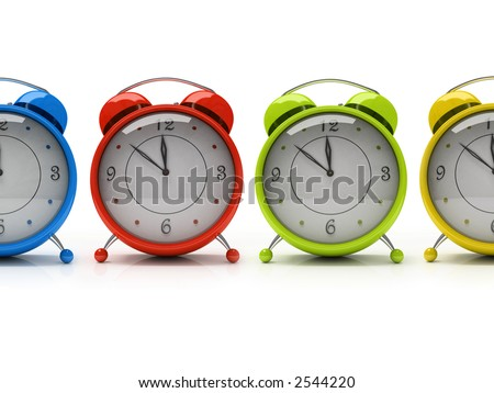Four colorful alarm clocks isolated on white background 3D - stock photo