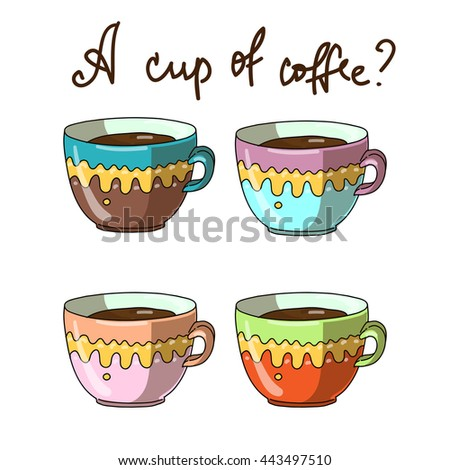 Four colorful cups with coffee. And the inscription - stock photo