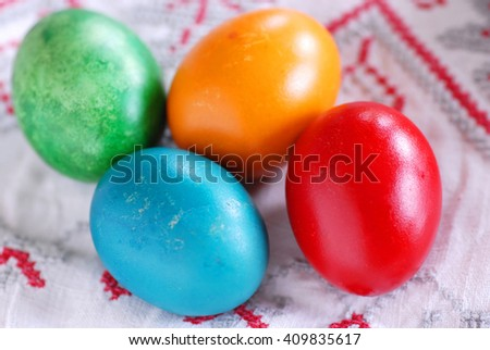 four colorful eggs