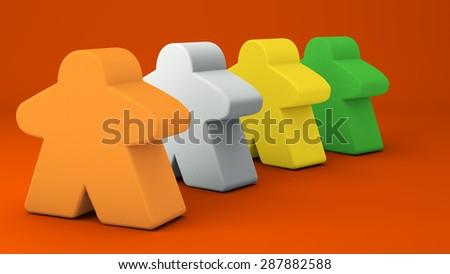 "Four colorful gaming ""meeples"" stand in a line on a bright orange background. The image suggests happiness, teamwork, standing in line and taking turns. - stock photo"